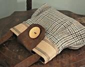 Wool Handbag Purse Everyday Bag : Gray Plaid