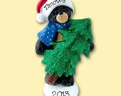 BLACK BEAR  w/Christmas Tree Personalized Christmas Ornament Hand Painted RESIN