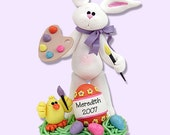 Personalized ARTIST Easter BELLY  BUNNY Figurine Ornament Handmade Polymer Clay