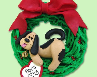 PUPPY DOG Laying in Wreath HANDMADE Polymer Clay Personalized Christmas Ornament