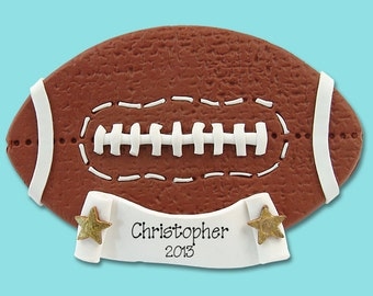 Football Personalized Christmas Ornament - Handmade Polymer Clay