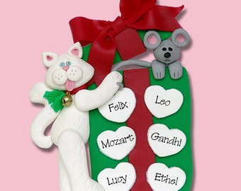 Cat & Gift Box Family of 6 HANDMADE Polymer Clay Personalized Christmas Family Ornament