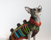 Crazy, Crazy Good, Patchwork Hand Knitted Chihuahua Sweater. XSmall