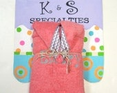 Coral Personalized Monogrammed Hooded Towel With A Gray Chevron Ribbon Trim/Curlz Font/Gifts:Baby Shower, Birthday, Wedding Party, FunUnique