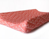 Changing Pad Cover in Watermelon Dancing Triangles- nursery bedding - baby changing station - Modern coral diaper pad cover