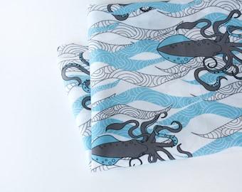 Nautical fabric - organic fabric by the yard - organic quilting fabric by the yard - eco friendly fabric - blue fabric - ocean theme fabric