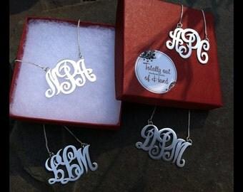 Monogram pendant, sterling silver monogram