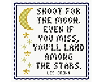 SHOOT for the MOON Cross Stitch Chart