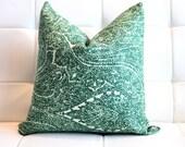 """Emerald Green Linen Decorative Pillow Cover- 12x18"""" Lumbar"""