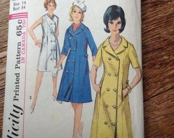 5 BUCKS Vintage Simplicity 8043 Double Breasted Coat & Dress Sewing Pattern 34 Bust 1960s