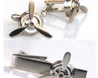 Steampunk - AIRPLANE PROPELLER Men's Cufflinks and Tie Clip Set - Aviator - Antique Silver - By GlazedBlackCherry