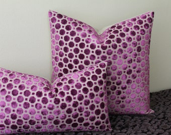 Robert Allen Velvet Geo in Magenta - Available in  Lumbar Sizes and Square Sizes -  Decorative Designer Pillow Cover