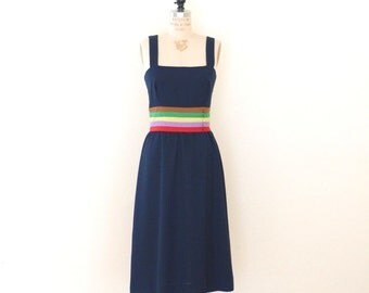 Navy Blue & Rainbow Ribbon Vintage Dress // Colorful Stripe Vintage Day Dress // Vintage Linen Dress - S/M