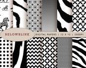 Black Zebra Digital Paper Pack, Scrapbook Papers, 12 jpg files 12 x 12 - Instant Download - DP218