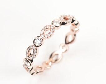 CERTIFIED - E-F, VVS-VS Diamond Wedding Band 14K Rose White or Yellow Gold
