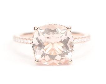 Sale - CERTIFIED - GIA Certified Huge Morganite & Diamond Ring 14K Rose Gold