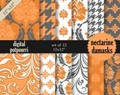 digital scrapbooking paper pack for scrapbooking, card making, printing - nectarine damaks