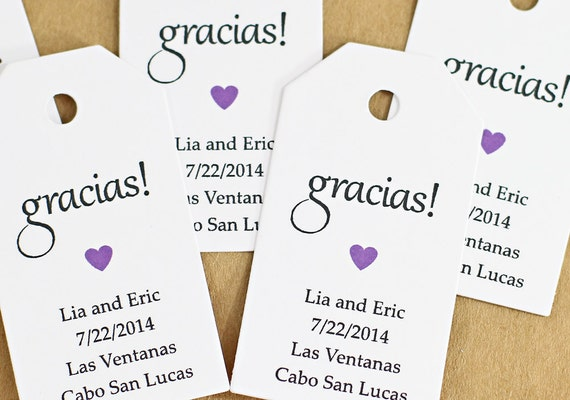 Gift Tag - Gracias Thank You in Spanish, Bridal Shower Favor Tag ...
