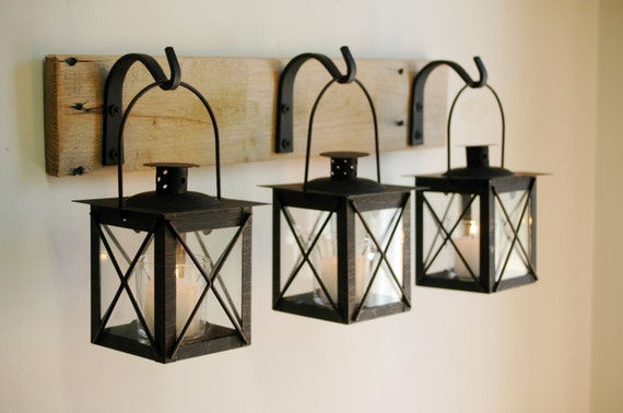 Black Lantern Trio Wall Decor Home Decor Rustic Decor Hanging From
