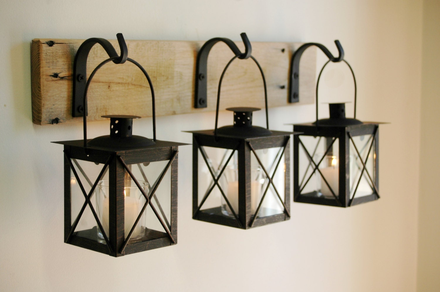 Black lantern trio wall decor home decor rustic decor - Home decor picture ...