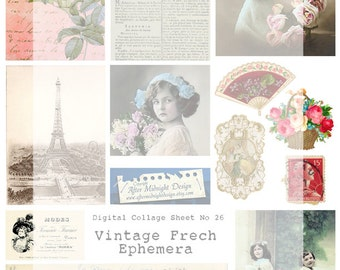 Digital Collage Sheet No 26 Vintage French Ephemera Tags Cards Journaling Scrapbooking Mixed media ATC