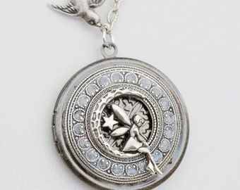 Fairy Locket,Moon and Star Locket,Silver Locket,Locket,Leaf,Tree,Bird,Antique,Filigree Leaf,Locket Necklace,Jewelry Gift ,Wedding Necklace