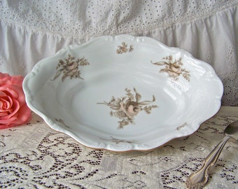 Vintage Vegetable Bowl Sepia Rose Johann Haviland Bavaria Germany NIB Blush Rose Replacement Bowl 1940s