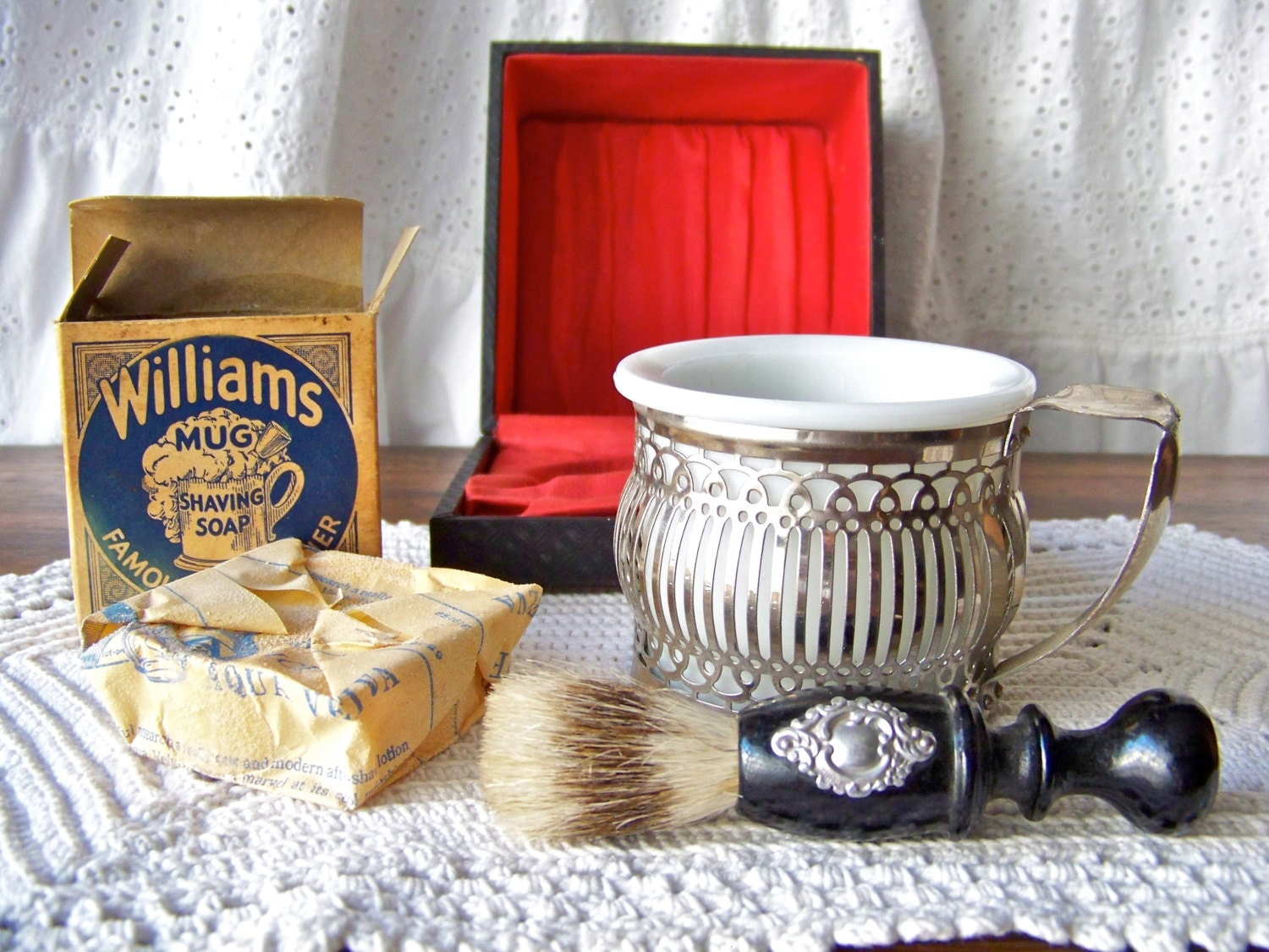 Vintage Shave Box Shaving Mug Shaving Brush Set By