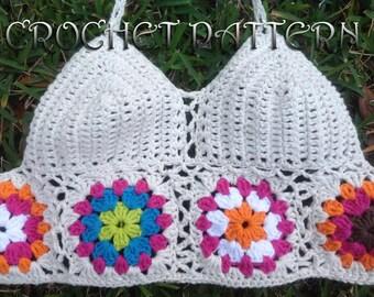 Woman Festival Crochet Pattern  with granny motifs in PDF file.