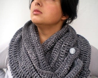 Grey Fashion Circle Scarf Crocheted pure Baby Merino  Wool Scarf Woman Circle Scarf NEW