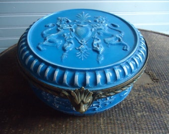 French Antique Box in Blue Creil and Montereau and Bronze c1870