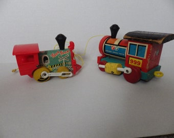 Two Vintage 1960s Fisher Price Pull-Behind Toy Trains