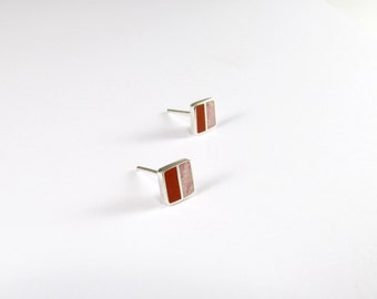 Sterling Silver Earrings - Pink and Red Squares - Modern Ear Studs