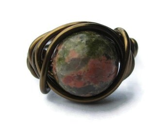 Earthy Jewelry - Unakite Ring - Custom Size - Green and Pink Rings