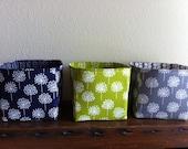 Set of three -- Fabric organizer storage container basket bins - Ready to Ship