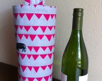 Fabric wine tote / wine carrier / wine bag / Echino Rhino