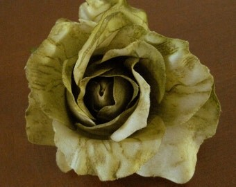 Variegated Olive Green Rose Flower Poly Silk Hair Clip