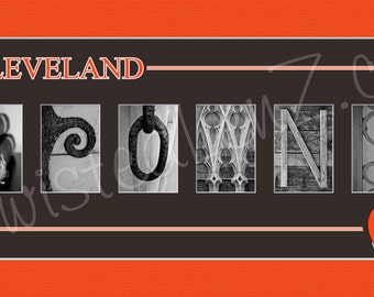 Cleveland Browns Alphabet Photo Collage Art Print