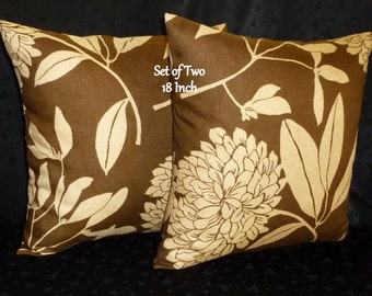 Decorative Accent Pillow Covers - Set of Two 18 Inch - Tan and Brown Floral