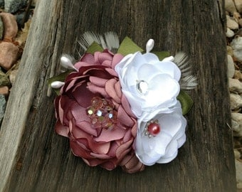 Handmade Rose Pink and White Fabric Flower Hair Clip