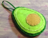 Avocado Ornament, Embroidered Felt, Green, Tan, Pit, Food Decor, Kitchen, Fruit, Accent, Spring, Harvest, Grocery, Salad