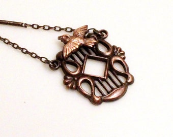 Dainty Bird Necklace Unique Dainty 1930s Tiny Miniature Flying Swallow Pendant