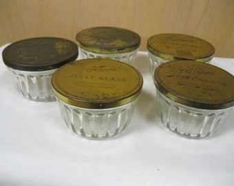Kerr Jelly Glass Matching Set of Five with Brass Colored Tin Lids Mid Century Farmhouse Canning Marked Kerr 112 Shabby Chic Collectible