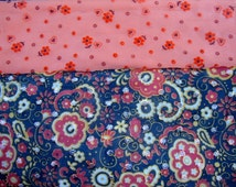 Two Pieces of 1970's Retro Nylon Fabric Polyester Cotton Floral Print Vintage Fabric Fabric Repurpose Upcycle 110