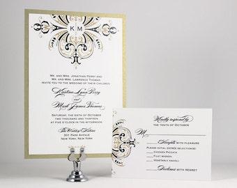 Gold Wedding Invitations Monogram Wedding Invitations - Sample