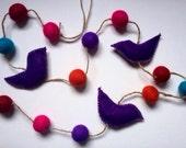 Purple birds and coloured felt ball garland (120cm)