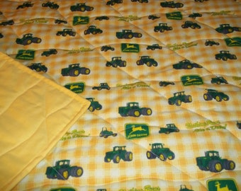 Handmade Toddler Bed or Crib Size Quilt Comforter  36 X 56  Yellow John Deere Fabric