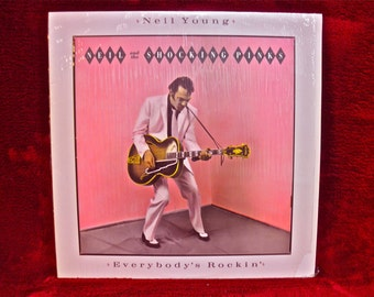 NEIL YOUNG - Neil and the Shocking Pinks...Everybody's Rockin'- 1983 Vintage Vinyl Gatefold Record Album