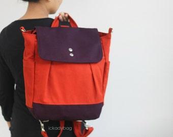 SALE - Convertible Backpack / Rucksack in Burnt Orange and Plum Canvas / Messenger Tote bag / Shoulder bag / Travel / School / Men - iHana