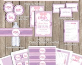 Pink and purple girls baby shower invitation party package, chevron invitation, pink, purple, printable (PARTIAL INSTANT DOWNLOAD) - ll2
